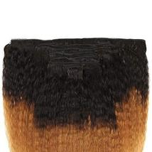 Feelgrace Kinky Straight Clip In Human Hair Extension Ombre 2 Tone 1B/Brown Colo image 5