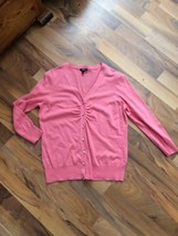 Talbots Peach V Neck Career Cardigan Sweater Sz Medium Sparkly Gem Buttons - $15.79