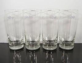 """Corelle LACE BOUQUET Glass Tumbler (s) LOT OF 4 EUC Blue Flowers 6-1/4"""" - $23.71"""