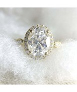 2.59Ct Oval Cut 9x7mm White Diamond Halo Engagement Ring 925 Sterling Si... - $80.19