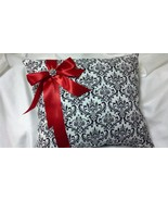 """DAMASK KNEELING PILLOW 14x18""""  Madison Black and White with deep red acc... - $38.99"""