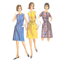 60s Vintage Simplicity Sewing Pattern 6095 Half Size House Dress Jumper ... - $6.95