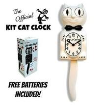 """Blanc Kit Chat Horloge 15.5 """" Gratuit Batterie Fabriqué en USA Officiel ... - £48.51 GBP"""