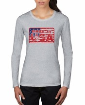 Made in USA American Flag Pride Women's Gift T SHIRT Long Sleeve Grey Pa... - $19.29+