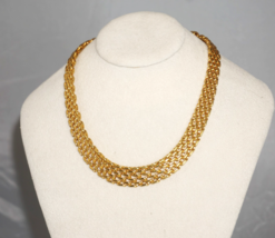 Monet 1990's Woman's Gold Mesh Chocker Necklace - $37.13