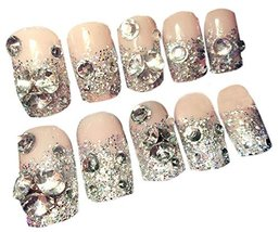 DIY Rhinestone False Nails Nail Makeup Set for Wedding, Nude Pink 24pcs