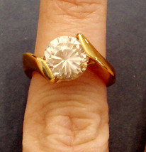 CZ Hug Ring Cubic Zirconia Round Solitaire Gold Plated Cocktail By Pass ... - $39.55