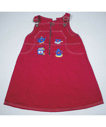 GIRLS SIZE 6 HOT PINK DENIM OVERALLS TEA PARTY DRESS 100% COTTON  - $9.89