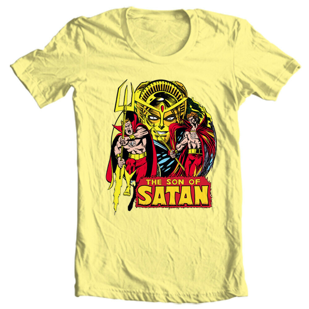 Son of Satan Yellow T Shirt Daimon Hellstrom Vintage 70s Marvel Comics Defenders