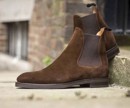 Handmade Men's High Ankle Chelsea Black and Brown Suede Boots image 2