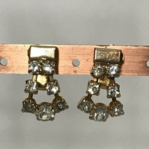 "Vintage Goldtone Rhinestone Clip On Earrings Approximately 1"" - $19.80"