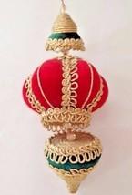 Vintage Christmas Ornament Green Red Gold Dangling Nostalgic Memories 10... - $24.24