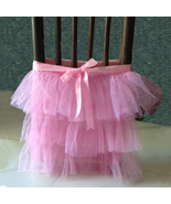 Set of 2 PINK Tulle Tiered Chair Skirt - Standard 3 Tier Chair skirt - $35.99