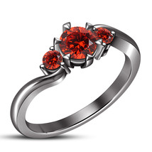 Red Garnet 10k Black Rhodium Finish Solid 925 Silver Engagement Three St... - £55.74 GBP