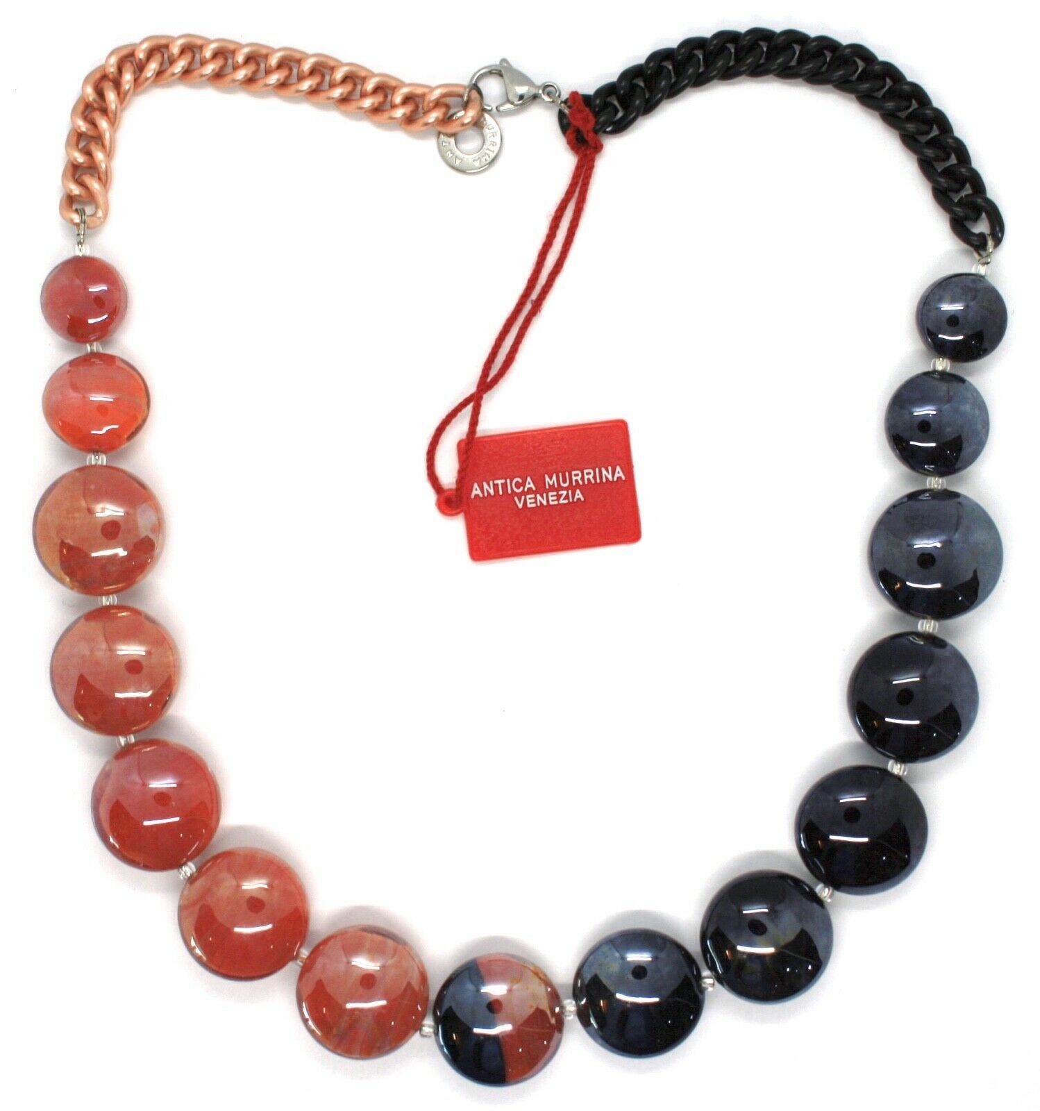 Necklace Antique Murrina, CO833A25, Chain Groumette, Discs, Red Black