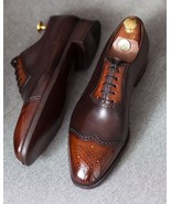New Men's Handmade Tan Brown Lace Up Wing Tip Brogue leather, Men's shoes - $159.99+