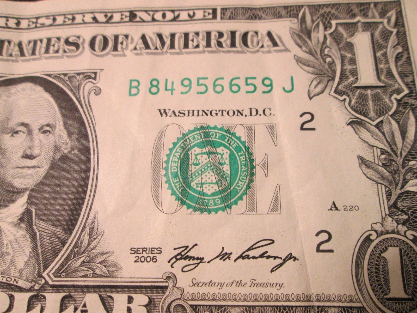 2006 Federal Reserve Bank of NY Still Crispy Note Last 6 Numbers RADAR! 956-659!