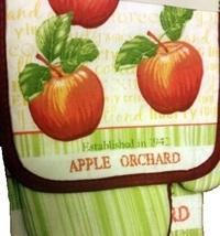APPLE ORCHARD KITCHEN SET 3pc Towel Mitt Potholder Red Green Apples Linens image 3