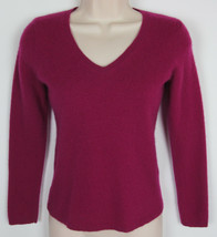 Ann Taylor 100% Cashmere sweater V-Neck Fuchsia / Plum Womens Size S - €14,14 EUR
