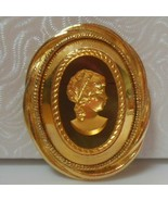 Vintage Gold-tone or Plated Glass Cameo Brooch - $55.00