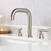 KES 8-Inch Widespread Bathroom Faucet 3 Hole Brushed Nickel image 2