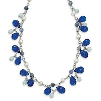 Primary image for Lex & Lu Sterling Silver Blue Crystal/Lapis/Amazonite/Cultured Pearl Necklace