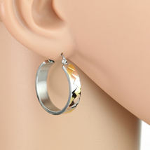 Retro Designed Tri-Color Silver, Gold & Rose Tone Hoop Earrings- United ... - $14.99