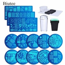 Biutee 13Pcs Lace Rose Flower Forest Image Nail Plates + 2 Stamper Scrap... - $18.81