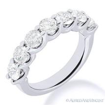 Round Moissanite 7-Stone U-Prong Anniversary Ring Wedding Band in 14k White Gold - $292.00+