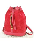 Authentic GUCCI Red Suede and Leather Bamboo Handle Backpack Bag #25017A - $379.00