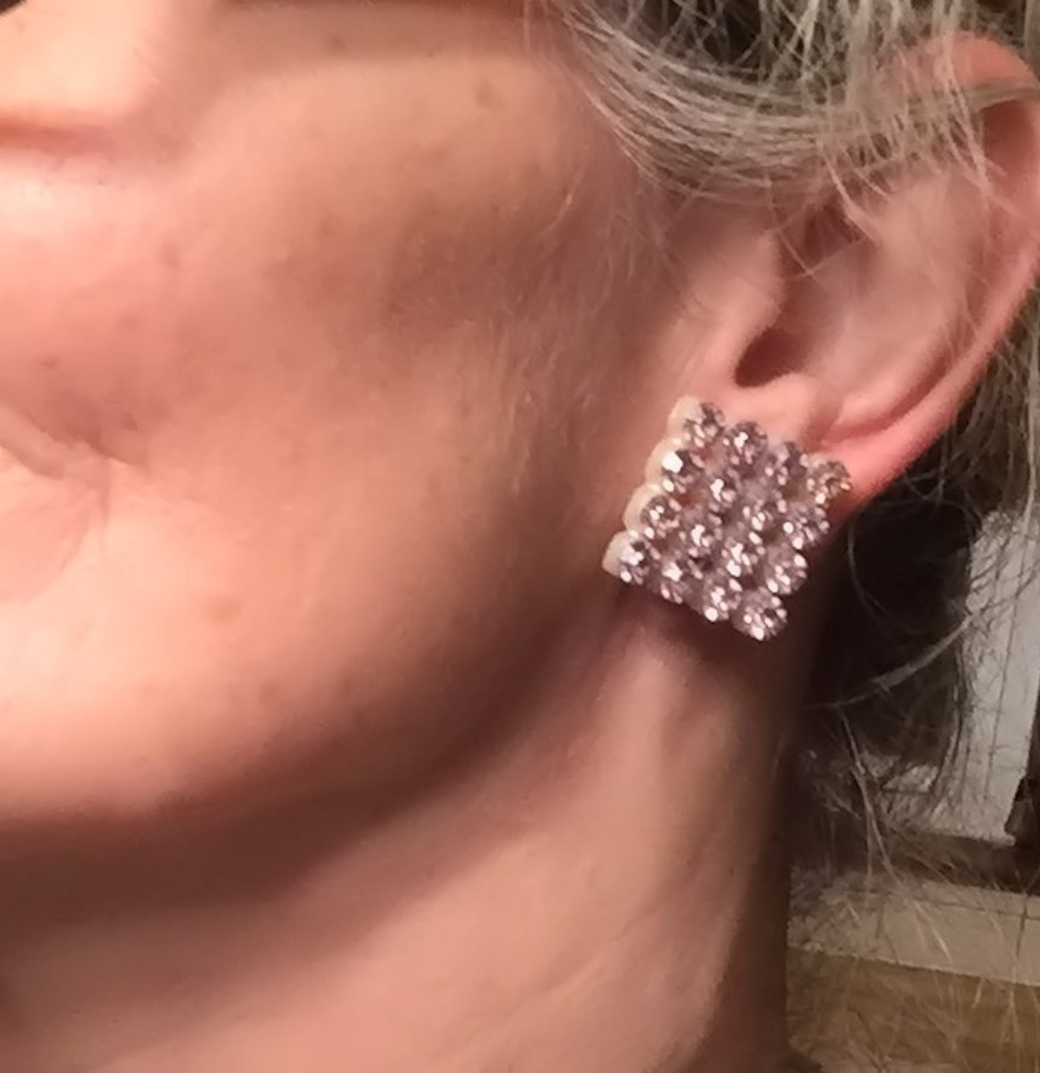 """Vintage 1950s Pale Pink Crystal Rhinestone 1"""" Squares Retro Clip On Earrings image 6"""