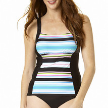 St. John's Bay Striped Tankini Swim Top Size 12 Msrp $46.00 New - $21.99