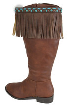 Western Women Winter Boot Toppers Brown Leather Fringe Knee Turquoise Blue Pair - $27.43