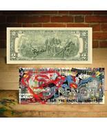 SUPERMAN Justice Comic Hero Pop Art Genuine Two-Dollar Bill HAND-SIGNED ... - $24.31