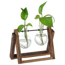 Wooden Swivel Planter Metal Holder Stand Glass Vase Rustic Garden Decor ... - $32.29 CAD