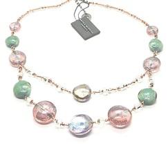 Necklace Antica Murrina Venezia Lampwork Murano Glass Charm Bead Purple Green image 2