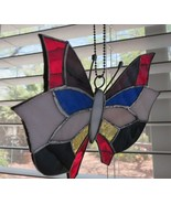 Butterfly Hand Crafted Stained Glass Sun Catcher 8 inches Across Wing - $59.35