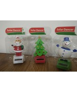 CHRISTMAS SOLAR DANCERS PACK OF 3 SANTA, HOLIDAY TREE & FROSTY SNOWMAN N... - $6.85