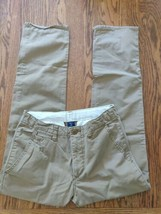 Gap Kids boys pants size 18R brown adjustable waist flat front straight leg EUC - $17.56