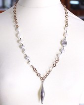 925 Silver Necklace, Baroque Pearls, Chain Rolo Pink worked, Oval Pendant image 1