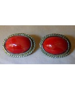 Vintage 1950s-60s Clip On Earrings Red Marbled Cabuchon Silvertone Rope ... - $10.00