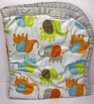 Blankets & Beyond Elephant Baby Blanket Grey Orange Green Blue  32x28 - $29.02