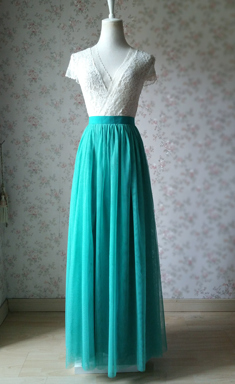 Maxi Long Tulle Skirt Emerald Green Tulle Tutu Skirt Bridesmaid Tulle Skirt