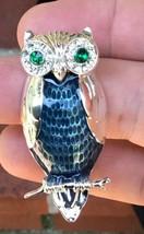 Stunning Owl Brooch Pin By Liz Claiborne Silver Tone W/ Rhinestones & Bl... - $9.85