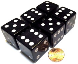 6x JUMBO Dice Six Sided D6 25mm Standard Square Edged Die BLACK With Whi... - $9.99
