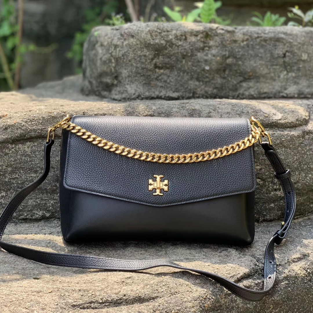 Tory Burch Kira Mixed-Materials Double-Strap Top Handle Shoulder Bag
