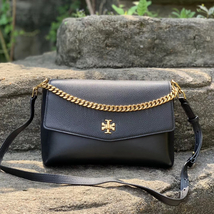 Tory Burch Kira Mixed-Materials Double-Strap Top Handle Shoulder Bag - $448.00