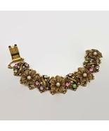 Vintage Gold Tone Floral Fruit Salad Rhinestone Ornate Bracelet  - $56.26