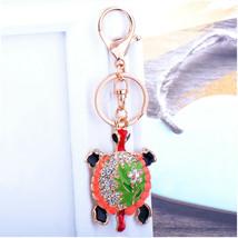 Fashion crystal keychain turtle key ring bag pendant charm jewelry - $12.99