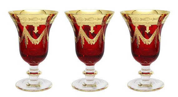High Class Elegance Vintage Style 24k Gold Accent Red Crystal Wine Glass Goblet